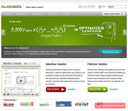 Clicksor – он-лайн рынок контекстной рекламы для рекламодателей и веб-мастеров