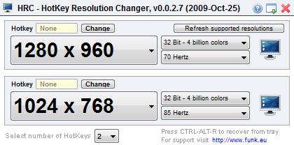 Hotkey Resolution Changer - изменяем разрешение экрана одним кликом