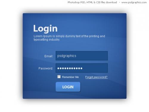 Окно авторизации голубого цвета, HTML и CSS с PSD-шаблоном