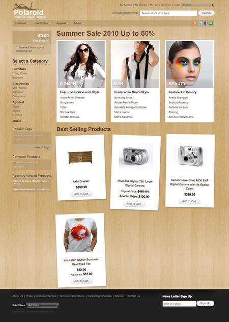 Polaroid: Бесплатная тема оформления для интернет-магазина на Magento