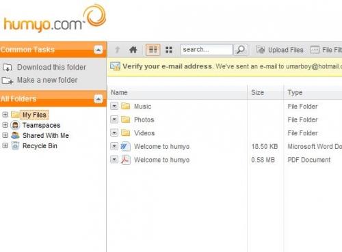 Загрузка и доступ к файлам с любого ресурса посредством Humyo