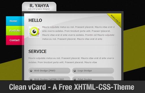 Clean vCard – бесплатный профессиональный XHTML-CSS шаблон для vCard