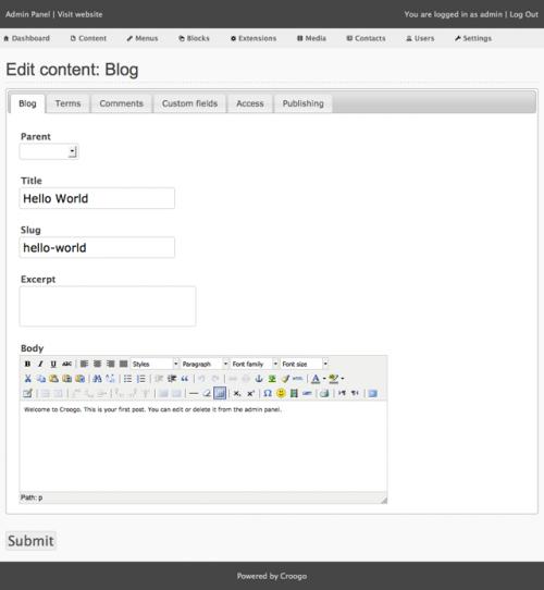 The Croogo – бесплатная CMS на PHP с открытым кодом