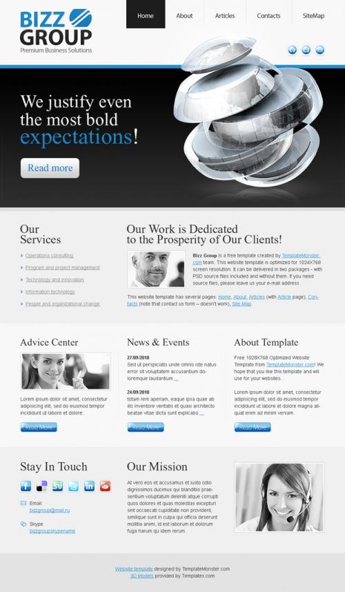 Бесплатный шаблон веб-сайта на бизнес-тематику – стильное решение!