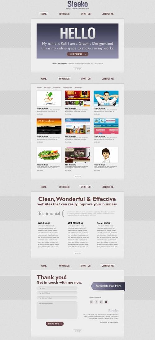 Sleeko – Скачайте PSD-дизайн одностраничного веб-сайта