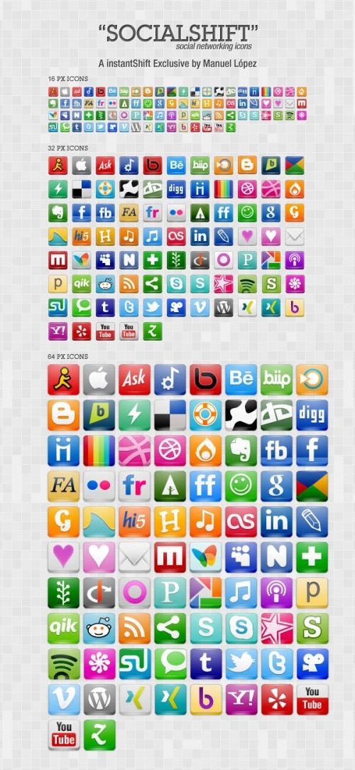 Набор иконок «SocialShift»: 246 бесплатных иконок социальных сетей