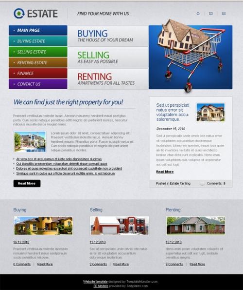 Бесплатный шаблон веб-сайта по торговле недвижимостью