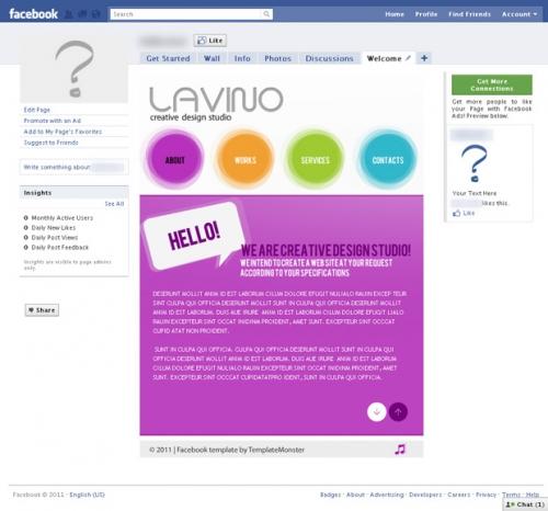 Бесплатный шаблон Facebook-страницы. Максимум сетевой активности!