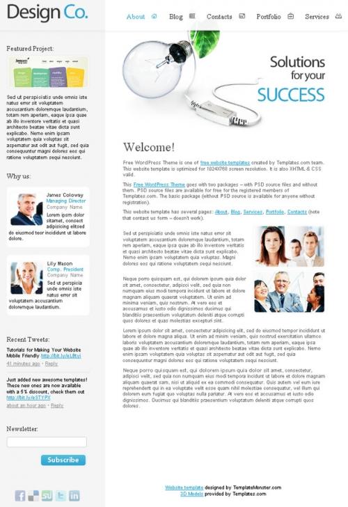 Бесплатный шаблон веб-сайта дизайнерской компании для Wordpress