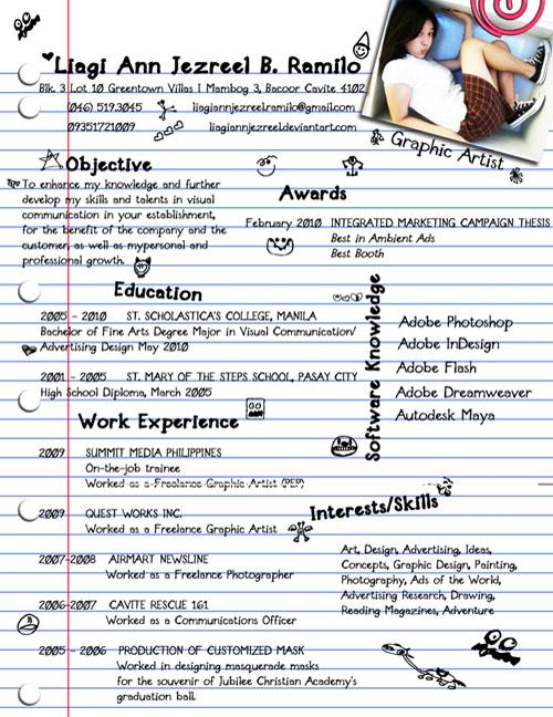 Образец креативного резюме дизайнера
