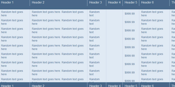 20 jquery for Table th fixed jquery