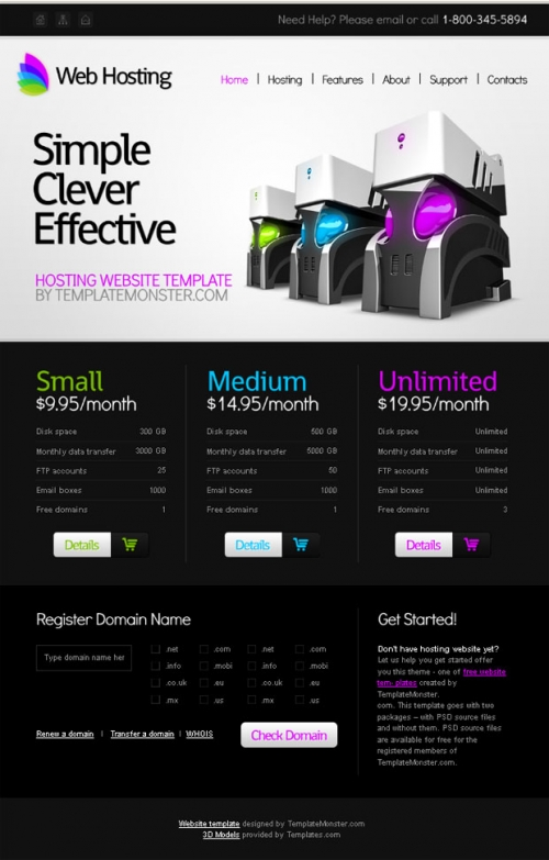 Бесплатный шаблон веб-сайта для поставщика услуг хостинга