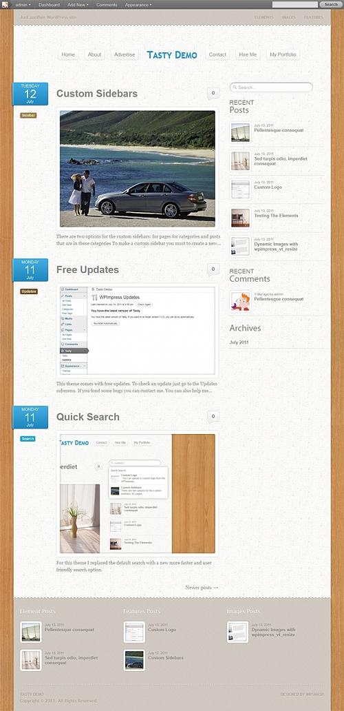 Tasty: бесплатный Wordpress-шаблон для персональных блогов
