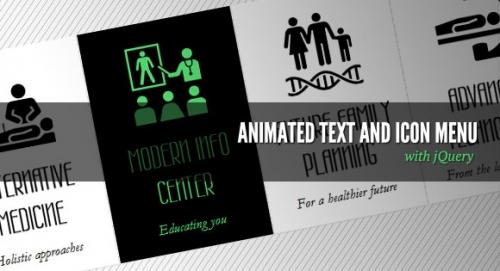 Анимированный текст и меню с иконками на jQuery