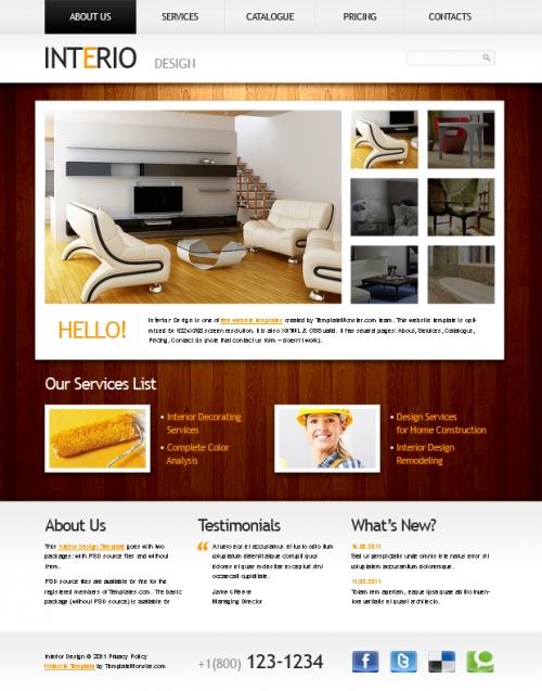 Бесплатный шаблон веб-сайта в строгом стиле для проекта по дизайну интерьера