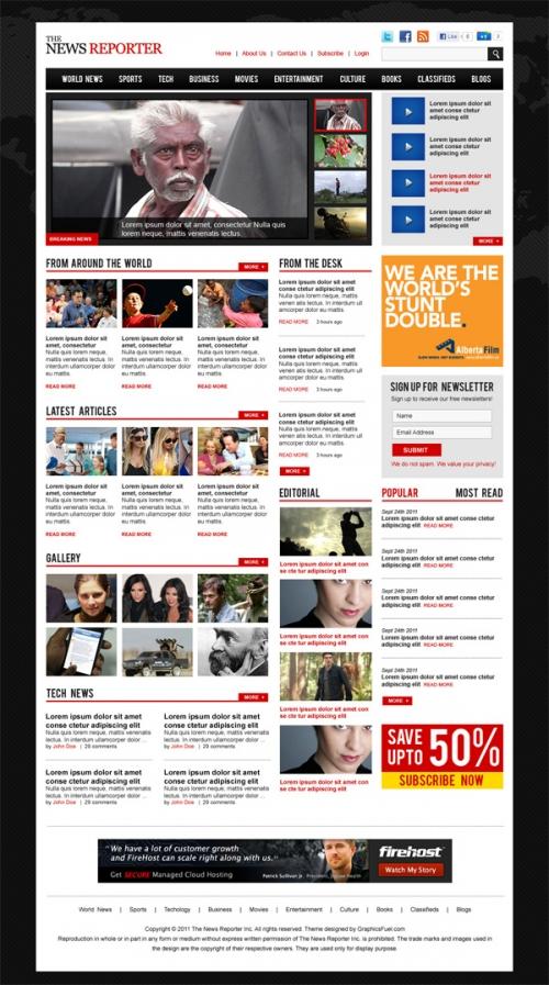 PSD-шаблон для сайта журнального типа под WordPress