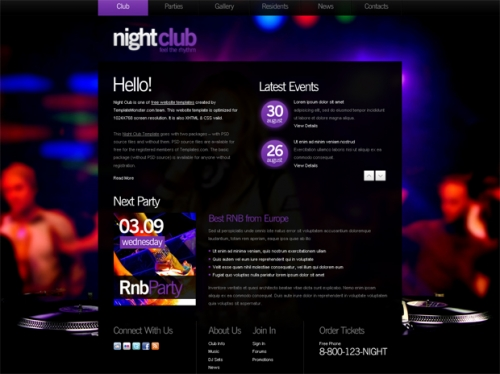 Бесплатный шаблон веб-сайта ночного клуба с фоновым изображением