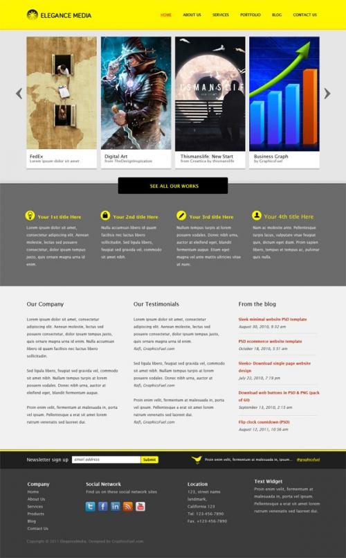 PSD-шаблон веб-сайта для компании