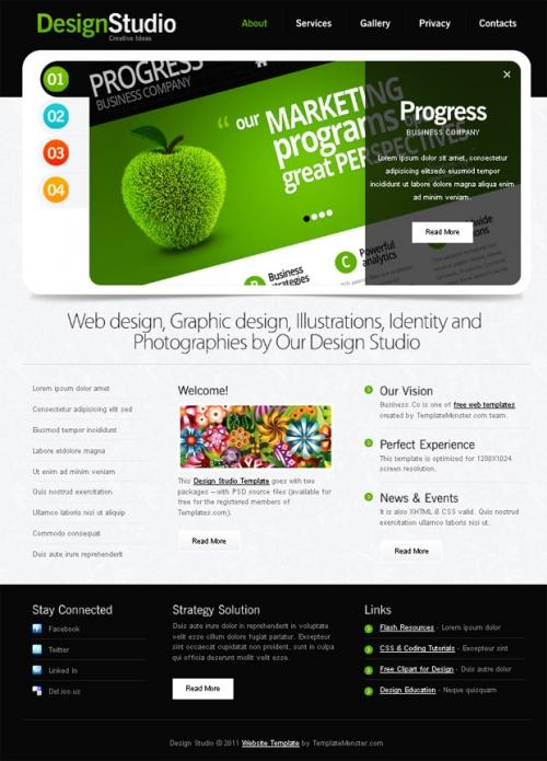 Бесплатный шаблон веб-сайта со слайдером для дизайн-студии