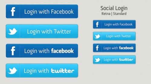 Бесплатные кнопки авторизации в социальных сетях Social Login (PSD)
