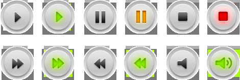 Мультимедийные (аудио, видео) PSD-кнопки