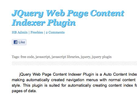 jQuery Web Page Content Indexer