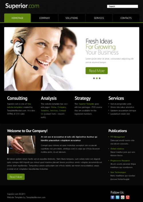 Бесплатный шаблон веб-сайта с jquery-слайдером для делового проекта