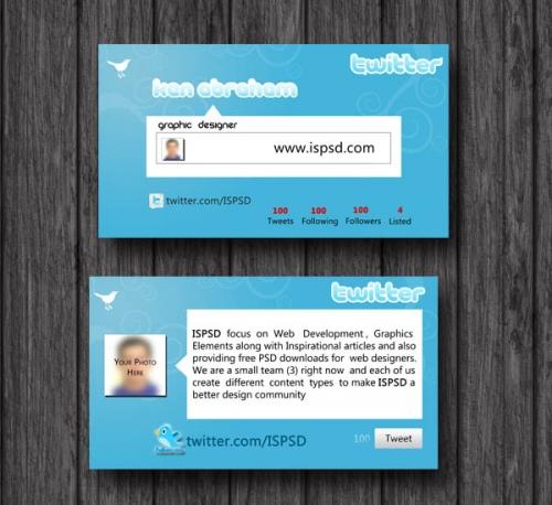 PSD-шаблон визитки для пользователей Twitter
