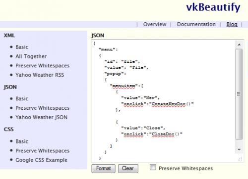 vkBeautify - javascript плагин для форматирования XML, JSON и CSS текста (обновление от разработчика)