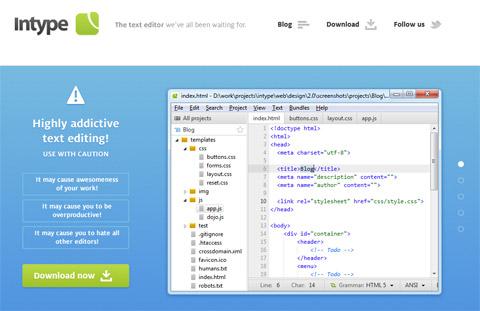 Intype: быстрый и гибкий текстовый редактор для разработчиков