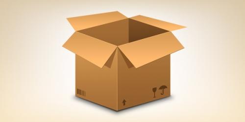 Реалистичная иконка картонной коробки (PSD)