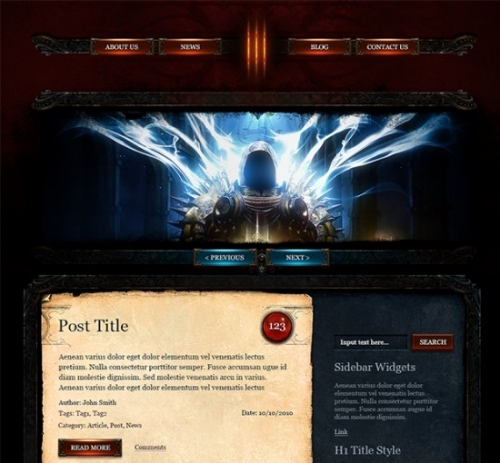 ���������� PSD-������ ��� Wordpress � ����� Diablo 3