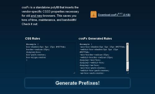Автогенератор вендорных CSS3-свойств – cssFx.js