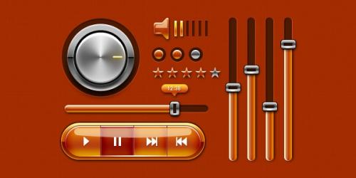 «Музыкальный» набор элементов пользовательского интерфейса для веб-ресурсов и мобильных устройств (PSD)