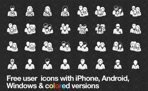 Полный комплект бесплатных векторных иконок «Пользователи»