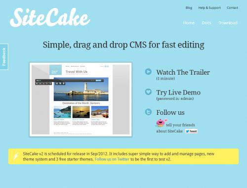 SiteCake – простая-но-шустрая CMS с открытым исходным кодом для небольших сайтов