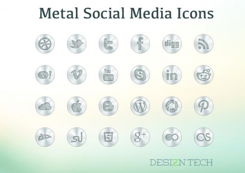 Бесплатный набор металлических иконок социальных сетей в PSD