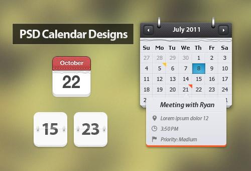 66 красивых и бесплатных PSD-заготовок для календарей