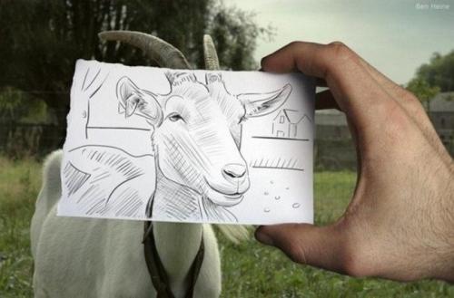 Гибрид рисунка с фотографией