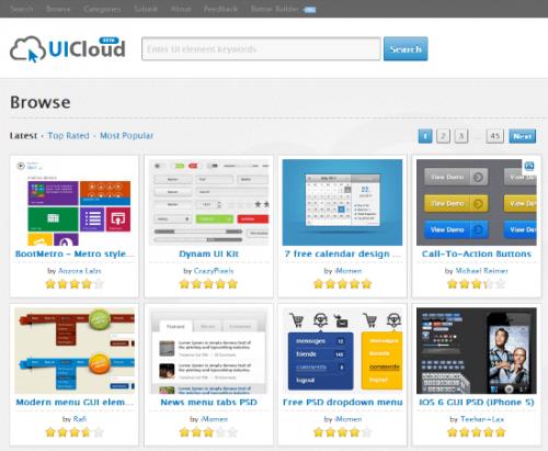 UICloud: Новёхонький бесплатный архив, хранящий свыше 25 000 элементов пользовательского интерфейса