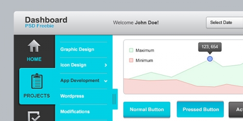 Набор элементов пользовательского интерфейса панели управления в PSD-формате