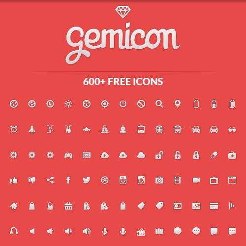 Набор иконок Gemicon (600 PNG-иконок + PSD)