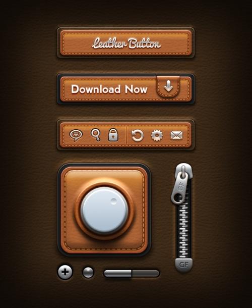 Кожаные элементы пользовательского интерфейса в PSD