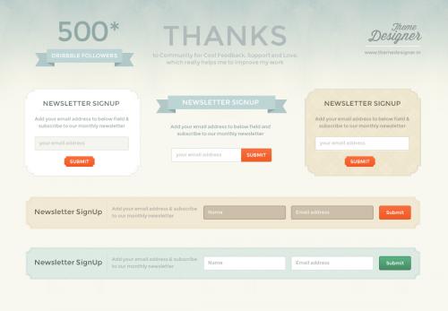 Бесплатная форма подписки на рассылку в PSD-формате