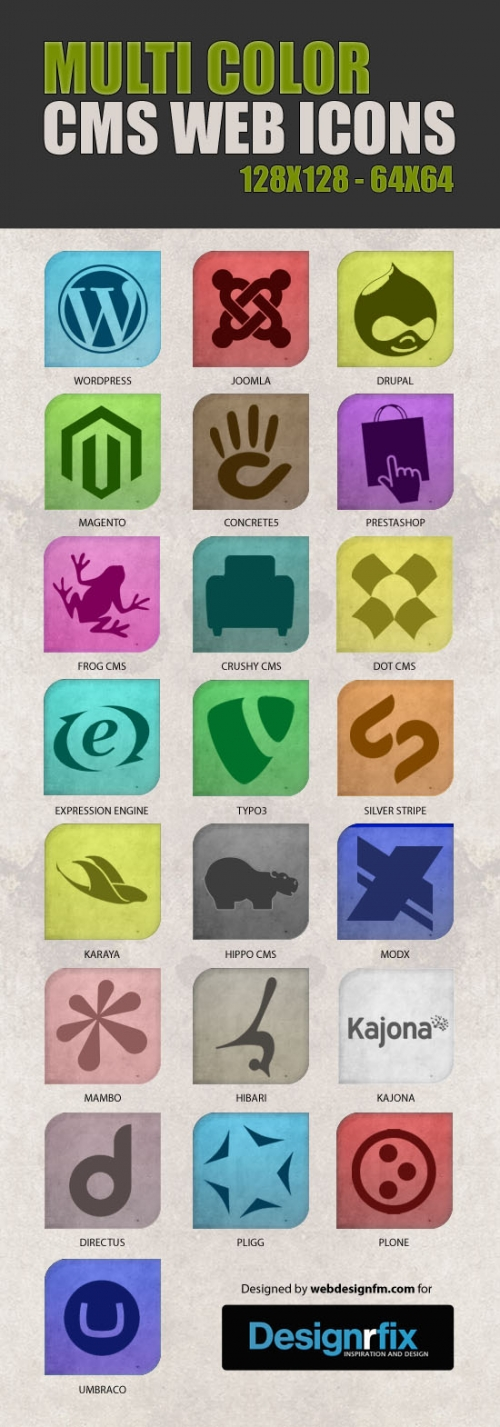 Бесплатный набор иконок для CMS в разных цветах
