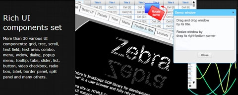 Zebra: UI наподобие рабочего стола для HTML5 Canvas