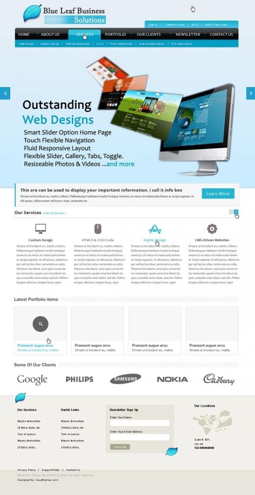 Бесплатный PSD-шаблон премиум-качества для сайта о бизнесе