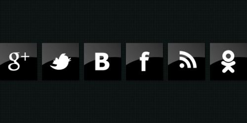 черные иконки социальных сетей глянцевые