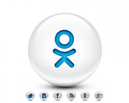 Кнопки социальных сетей в виде белого шара в формате psd