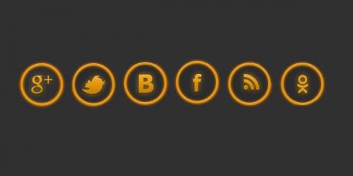 Желтые иконки соц. сетей в формате psd